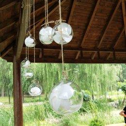 Großhandel 10 cm Kreative Hängende Glasvase Sukkulente Luft Pflanzen Display Terrarium, Dekorative Klarglas Hängende Luft Pflanzen Terrarium