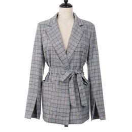 blazers suits elegant women UK - New Autumn Women Gray Plaid coat 2018 Office ladies Blazer Jackets Suit Femme long Sleeve Jackets Elegant Work Blazers Feminino