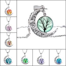 $enCountryForm.capitalKeyWord Canada - Vintage Jewelry with Silver Plated Tree of Life Crescent Moon Shaped Glass Cabochon Choker Long Pendant Necklace for Women