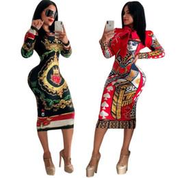 Envío gratis Nuevas mujeres Sexy Imprimir Crew Neck Lápiz Vestido de talle alto Bodycon Midi vestidos Slim Fit