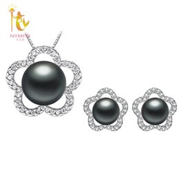 $enCountryForm.capitalKeyWord UK - [NYMPH]Natural Pearl Jewlery Sets Real Freshwater Pearl Necklace Pendant Earrings Black Wedding Party Gift For Girl Star[T24901]