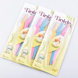 500 Conjunto Portátil 3 pçs / set Pro Tinkle Sobrancelha Razor Removedor De Cabelo Set Para Make Up Kit Frete Grátis em Promoção