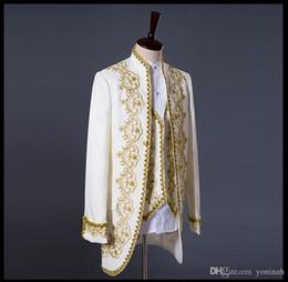 Prince or broderie blazer costume de mariage marié veste manteau blazer  veste smoking costumes hommes manteau + veste + pant 2776acc74d8