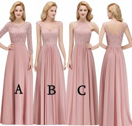 garden party style wedding dresses 2019 - 2019 Mixed Styles Cheap Bridesmaids Dresses Custom Made For Weddings A Line Lace Top Chiffon Long Wedding Party Evening
