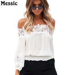 $enCountryForm.capitalKeyWord NZ - Messic Crochet Lace Sexy Off Shoulder White T Shirt Top 2018 Summer Long Sleeve Tshirt Women Loose Slash Neck Tee Shirt Femme