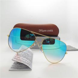 30a129eae4b Progressive Glass Lens Sunglasses Men Women Sun Glasses Brand Designer  Metal Pilot High Quality Eyewear Gradient 62MM Mirror With Case Box