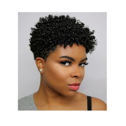 Discount black curly human hair wig - NEW fashion women brazilian hair short kinky curly wig Simulation Human Hair black color short curly wig in stock
