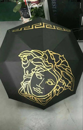Umbrellas designs online shopping - New Design Medusa Black Metal Umbrella Umbrella Classic Women AutomaticLuxury Vintage logo Umbrellas With Gift Box