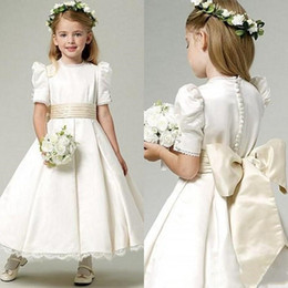 db99ced2d vintage flower girl dress jewel neck ankle length bubble short sleeves lace  hemline ivory satin flower girl dresses with champagne bow sash