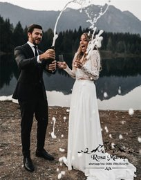 $enCountryForm.capitalKeyWord Australia - Two Pieces Country Cheap Wedding Dresses 2019 A Line Long Sleeves Vintage Lace Plus Size Beach Boho Hippie Bridal Gowns Vestido De Novia
