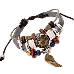 $enCountryForm.capitalKeyWord NZ - Cool Unisex Charm Bracelet DIY Wristband Punk Retro Rivet Star Skull Wing Teen Wolf Triskele Key Bracelet Bangle Tibetan Jewelry