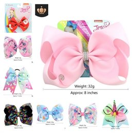 Wholesale mix whosale Jojo Siwa Hair Bows Solid Color With Clips Papercard Metal Logo Girls Giant Rainbow Rhinestone Hair Accessories Hairpin hairband