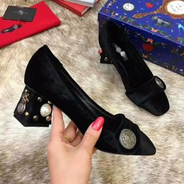 Mid Heels Wedding Shoes Canada - 2018 Fall Winter Monk Strap Pearl Diamond Velvet Dress Shoes Mid Heel Wedding Party Shoes