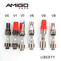 Discount vaporizer atomizer airflow adjustable - Original AMIGO V5 V6 V7 V8 V9 Vape Cartridges Ceramic Coil Adjustable Airflow Thick Oil Cartridges Vaporizer Atomizer Oi