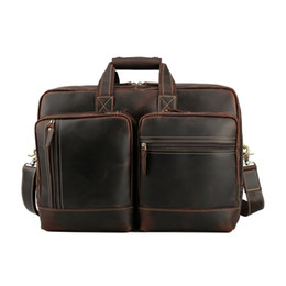 Wholesale Tiding Luxury Genuine Cow Leather Travel Briefcase Mens Inch Laptop Bags Tote Business Document Case Vintage Maleta Brown