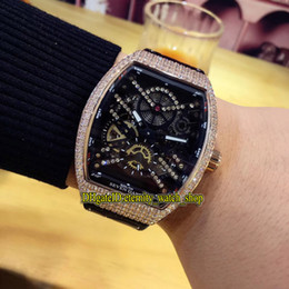 Skeleton watcheS leather Strap online shopping - High Quality V S6 SQT NR BR NR Black skeleton Dial Rose Gold Diamond Case Automatic Mechanical Mens Watch Leather Strap Watches