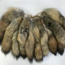 "Cartoon Tail UK - 10pcs 14"" 35cm-100% Real Genuine Bush Wolf Fur Tail Cosplay Toy Keychain keyring Handbag Accessory"