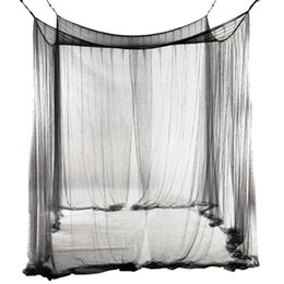 Chinese  4-Corner Bed Netting Canopy Mosquito Net for Queen King Sized Bed 190*210*240cm (Black) manufacturers