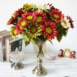 $enCountryForm.capitalKeyWord NZ - 60PCS Silk Sunflower Artificial Bridal Flowers Bouquet Wedding Party Decorations Home Room Decor Fake Sunflowers Props High End Silk Cloth