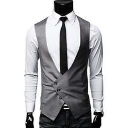British Slim Suits NZ - Men's Clothing Fashion Male British Style Slim Colete Masculino Coon sigle Breasted Sleeveless Jacket Waistcoat Men Suit Vest