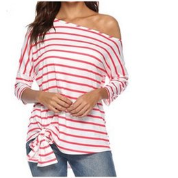 922bfd34 good quality Autumn T-shirt Women's 2019 Striped Oblique Shoulder Bat  Sleeve Loose Casual Off Shoulder Tops Femme Mujer T Shirts Women