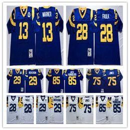 a44a73d72 Best Quality 85 Jack Youngblood 29 Eric Dickerson 28 Marshall Faulk 13 Kurt  Warner 75 Deacon Jones Stitching Embroidery Football Jerseys Men