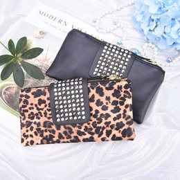 Leopard Print Clutch Bags Canada - Women Handbag Leopard Print Clutch Bag Women Rivet Zipper Bags Wallet Holder Card Coin Clutch Purse Wristlet Evening Bag Gifts
