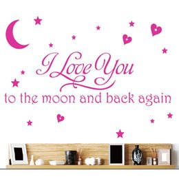 $enCountryForm.capitalKeyWord Australia - 2Colors I Love You To The Moon And Back Wall Letter Decal Girls Kids Room Home Decor Wall Sticker