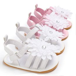 Baby Girl Cute Sandals Australia - Baby Boys Girls Summer Sandals Flower Anti-Slip Flower Cute Crib Shoes Soft Sole Prewalkers 0-18M