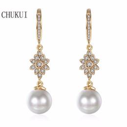 $enCountryForm.capitalKeyWord NZ - CHUKUI Long Zircon Pearl Drop Earrings Female Korean Gold Faux Pearl Rhinestone Hanging Earrings Luxury Bijoux 10 mm