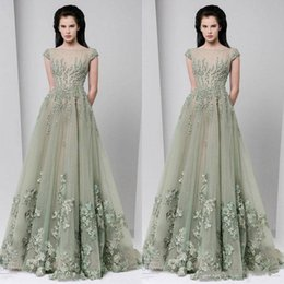 c5ccd00ade2a Tony Ward 2018 A Line Evening Dresses Sheer Neck Applique Illusion Beads  Cap Sleeve Floor Length Tulle Custom Made Formal Party Prom Dresses
