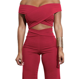 Discount wholesale army clothes - 2018 Sexy Bodycon Bandage Women Sets Off Shoulder Criss Cross Crop Top & Long Pants Two Piece Set Party Club Clothing