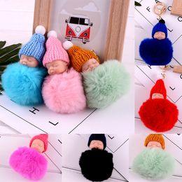 Dolls fur balls online shopping - Novelty Items Cute Sleeping Baby Doll Keychain Pompom Rabbit Fur Ball Key Chain Car Keyring Women Key Holder Bag Pendant WX9