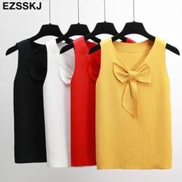 High Neck T Shirts For Women Canada - 2018 elegant big bow sleeveless T-Shirt Women office lady Knit T Shirts for women slim female v-neck solid OL top high quality