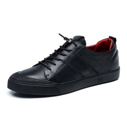band drive 2019 - Men Flats Genuine Leather Male Black Driving Casual Sneakers Mens Comfortable Lace Up Elastic Band Casual Shoes discount