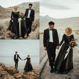 wedding dress applique pieces NZ - 2018 Black Wedding Dresses A Line Backless Lace Applique Two Pieces Long Sleeve Wedding Gowns Floor Length Plus Size Country Bridal Dress