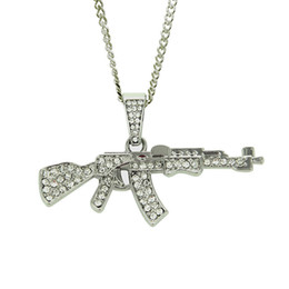 mens white gold chain necklaces UK - Hot Mens Gold Silver Plated Iced Hip Hop Gun Pendant Necklace Cuban Chain Fashion Jewelry For Christmas birthday Gift