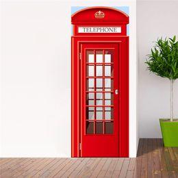 $enCountryForm.capitalKeyWord NZ - 2Pcs Set European Style Telephone Booth Door Stickers Bedroom Door Renovation Self-Adhesive Decoration Wall Stickers 3D Mural