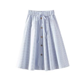 b3848c1fc519 Women A-Line High Waist Button Front Drawstring Pleated Elastic Waist Midi  Skirt