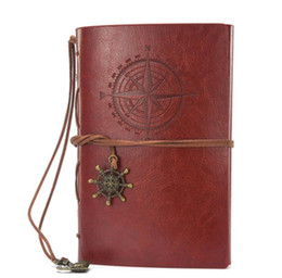 Vintage Leather Books Canada - Vintage Pirates Pu Leather Notebook Fashion Selection Kraft Paper Creative Business Diary book loose-leaf student Note Book Diary notepads