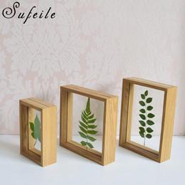 SUFEILE Espécimes de plantas simples dupla face de vidro quadro 6 polegada de madeira maciça quadro decorativo criativo Família combinação D5