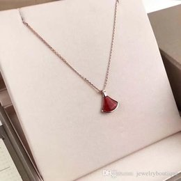 Pure Diamond Chain NZ - S925 pure silver Brand name Fan Necklace Nature red jade and diamond pendant Necklaces Charm Women Party Jewelry gift PS5045