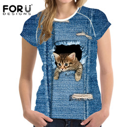 $enCountryForm.capitalKeyWord Australia - FORUDESIGNS Harajuku 3D Jeans Cat T Shirt Women Brand Clothes Kawaii Tshirt for Women Tops Tees Blusa Female Funny T-shirt Girls