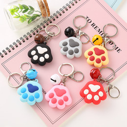 $enCountryForm.capitalKeyWord UK - Dog Paw Print Bell Keychains Key Ring Chains Handbag Pendant Cheap Gift for Girls Boys Pet Lover