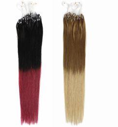 Discount blonde human hair micro extensions - AAAAA Grade 0.7g*200s Straight 12''-22'' 24'' 26'' 28'' 30''