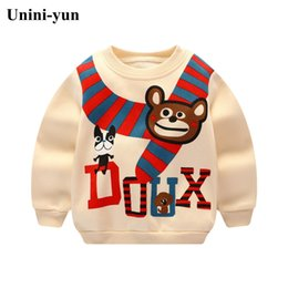Wholesale Unini yun boys Hoodie baby girls fleece thick warm jackets Bear print hooded kids clothes sports clothes Beige color unisex top