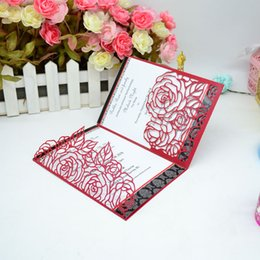 $enCountryForm.capitalKeyWord Canada - New Arrival Laser Cut Tri-Folded Romantic Rose Pocket Luxury Cards Cheap Chinese Personalised with free envelopes Hot Sale