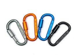 Chinese  Screw Gate Buckle Carabiner Clip Aluminum Screw D Ring Locking Spring Clips Hooks Outdoor Keychain Buckle Support FBA Drop Shipping G677F manufacturers
