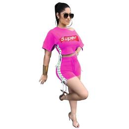 Girls trendy shorts online shopping - Super Letter Women Summer Activewear Shorts Crop Top Off Shoulder Split Outfits Sexy Club Trendy T shirt Piece Set Print Girl Sportswear