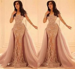 Discount purple detachable dresses - 2018 Formal Arabic Evening dresses Long Sleeves Overskirts Lace Appliques Crew Sheer Neckline Vintage Prom Dress with De